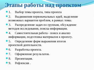Этапы работы над проектом 1.Выбор темы проекта, типа проекта 2.Выдв