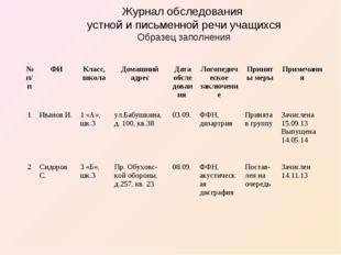 Журнал обследования устной и письменной речи учащихся Образец заполнения №п/п
