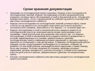Cpoки хранения документации Хранению на логопедическом пункте подлежат: Журна