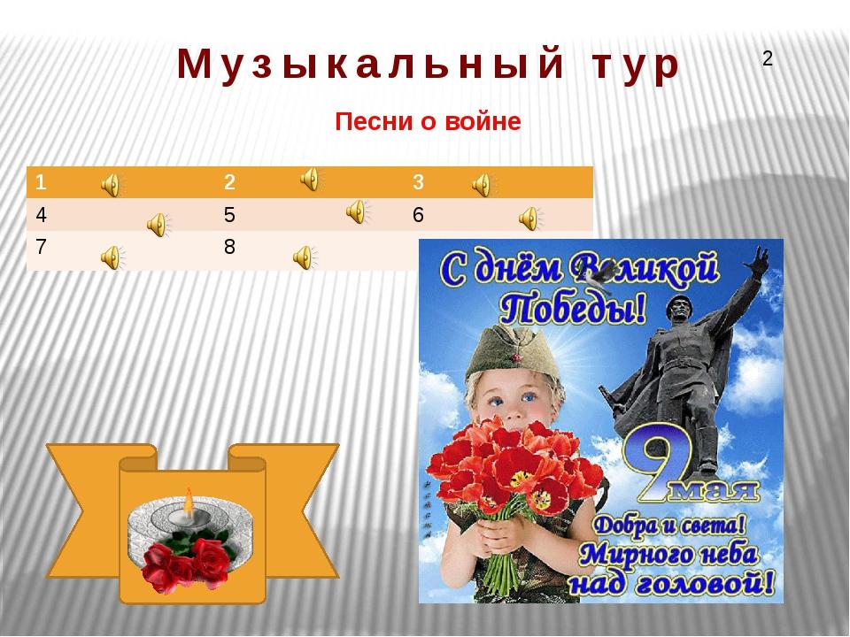 Песни о войне Музыкальный тур 2 1 2 3 4 5 6 7 8