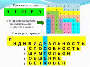 1 Кроссворд - загадка Венгерский кроссворд (размещён на сайте «Подросток и за