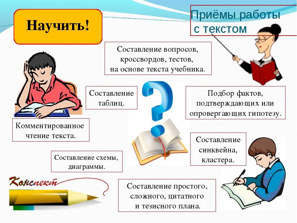 Приёмы работы с текстом Комментированное чтение текста. Составление простого,...