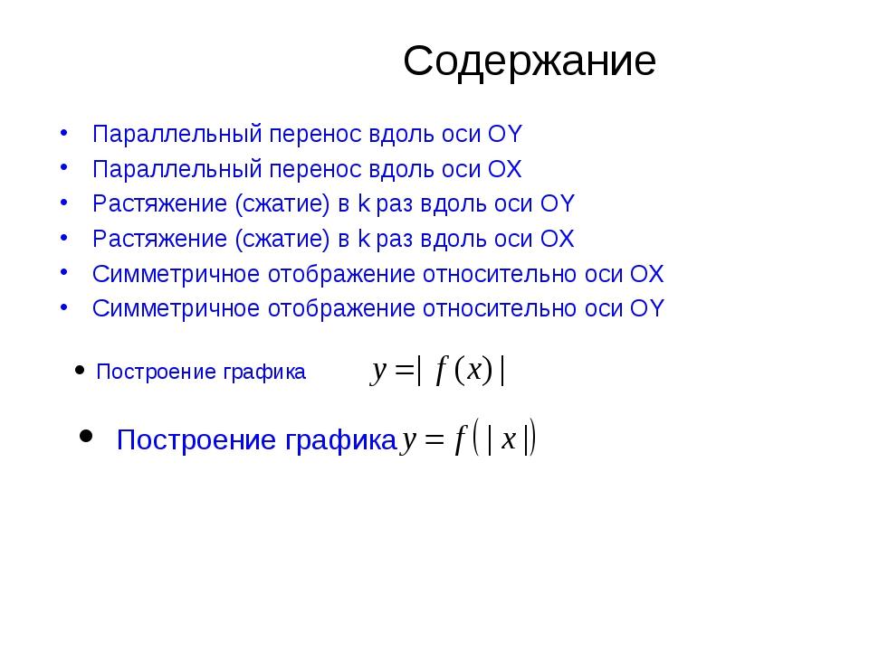 Содержание Параллельный перенос вдоль оси OY Параллельный перенос вдоль оси...