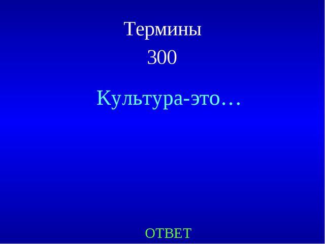 Термины 300 Культура-это… ОТВЕТ