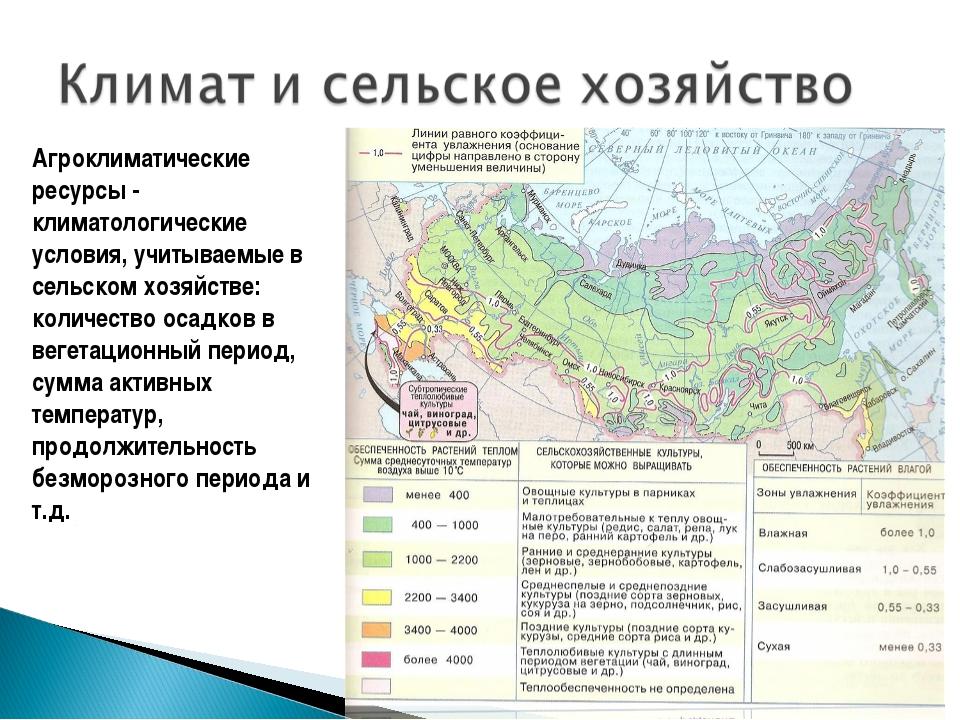 Агроклиматические ресурсы - климатологические условия, учитываемые в сельском...