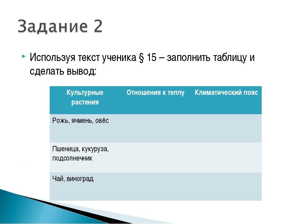 Используя текст ученика § 15 – заполнить таблицу и сделать вывод: Культурные...