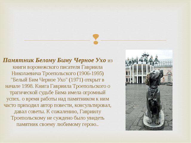 Памятник Белому Биму Черное Ухо из книги воронежского писателя Гавриила Никол...