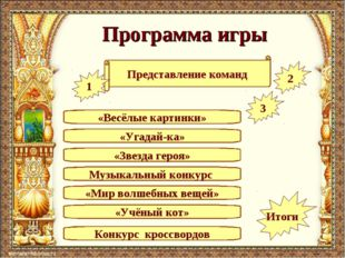 Программа игры «Угадай-ка» Представление команд «Весёлые картинки» Музыкальны