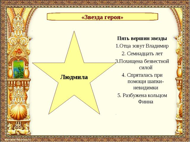 «Звезда героя» Людмила Пять вершин звезды 1.Отца зовут Владимир 2. Семнадцать...