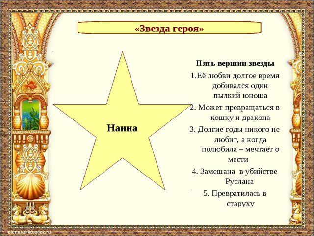 «Звезда героя» Наина Пять вершин звезды 1.Её любви долгое время добивался оди...