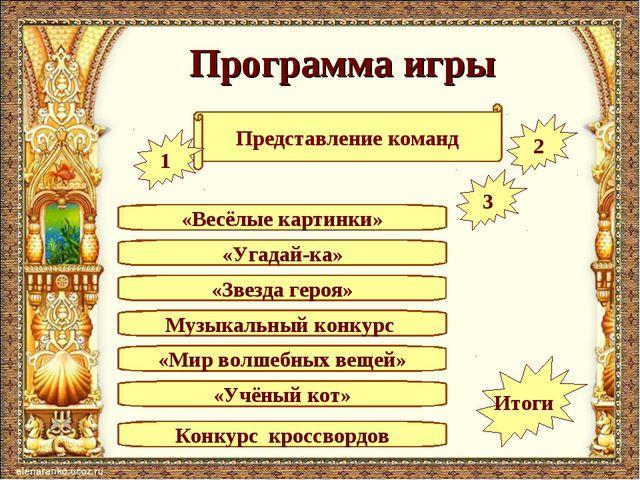 Программа игры «Угадай-ка» Представление команд «Весёлые картинки» Музыкальны...
