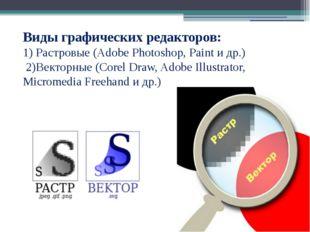 Виды графических редакторов: 1) Растровые (Adobe Photoshop, Paint и др.) 2)В