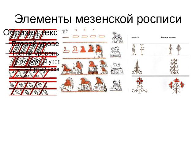 Элементы мезенской росписи