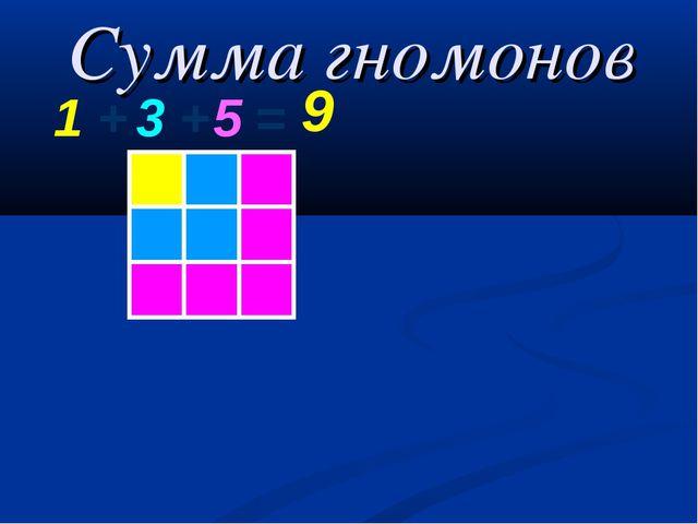 Сумма гномонов 1 + 3 + 5 = 9