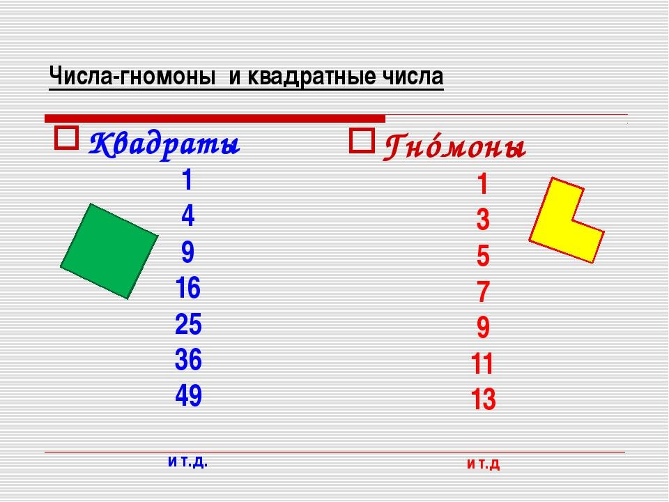 Числа-гномоны и квадратные числа Квадраты 1 4 9 16 25 36 49 и т.д. Гнóмоны 1...