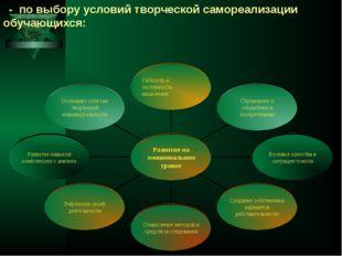 - по выбору условий творческой самореализации обучающихся: