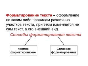 Форматирование текста – оформление по каким либо правилам различных участков