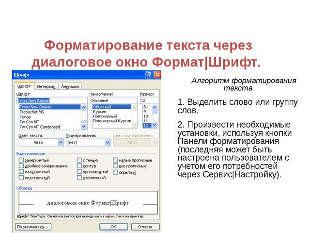 Форматирование текста через диалоговое окно Формат|Шрифт. Алгоритм форматиров...