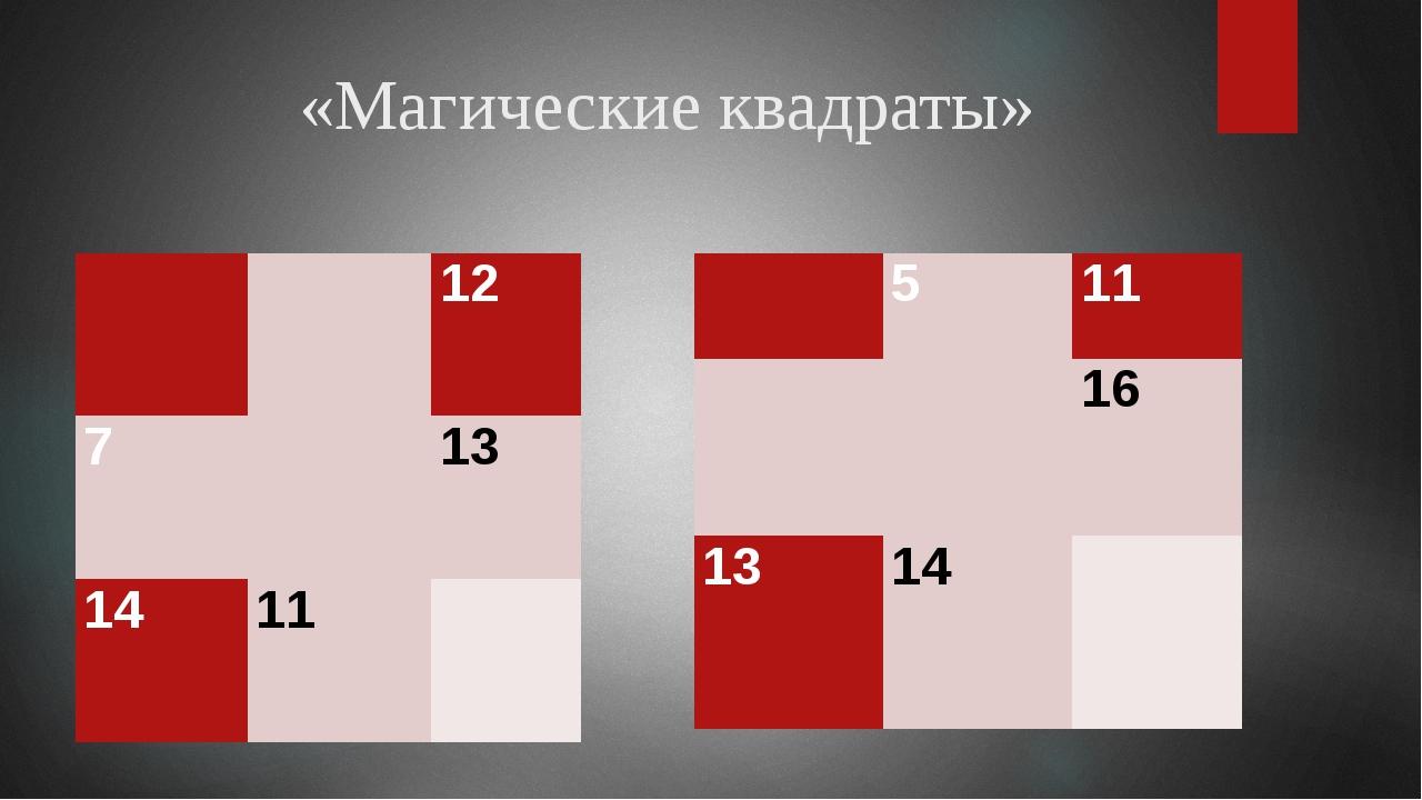 «Магические квадраты»   12 7  13 14 11   5 11   16 13 14