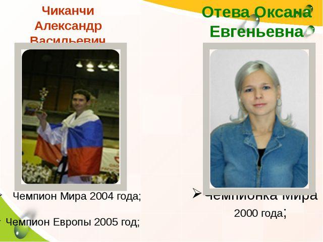 Чиканчи Александр Васильевич Чемпионка Мира 2000 года; Отева Оксана Евгеньев...