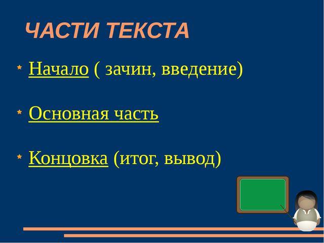 ЧАСТИ ТЕКСТА Начало ( зачин, введение) Основная часть Концовка (итог, вывод)