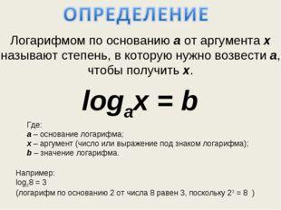 Логарифмом по основанию а от аргумента x называют степень, в которую нужно во