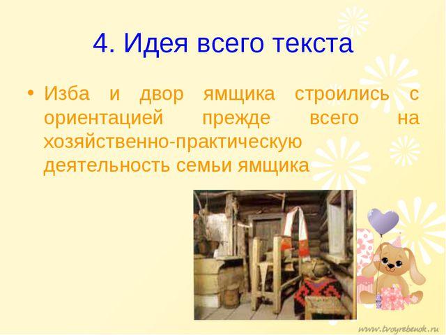 4. Идея всего текста Изба и двор ямщика строились с ориентацией прежде всего...