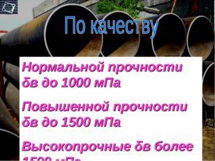 Нормальной прочности δв до 1000 мПа Повышенной прочности δв до 1500 мПа Высок