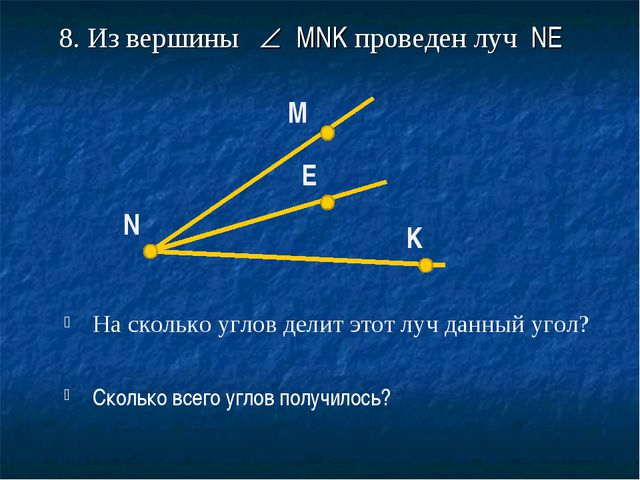 8. Из вершины  MNK проведен луч NE На сколько углов делит этот луч данный уг...