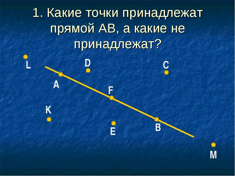 B A D C F E L K M 1. Какие точки принадлежат прямой АВ, а какие не принадлежат?