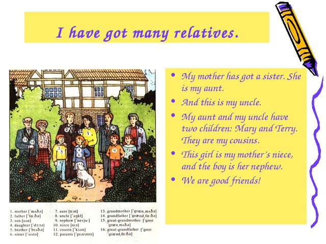 I have got many relatives. My mother has got a sister. She is my aunt. And th...