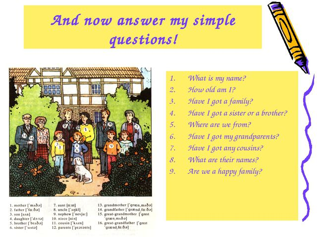 And now answer my simple questions! What is my name? How old am I? Have I got...