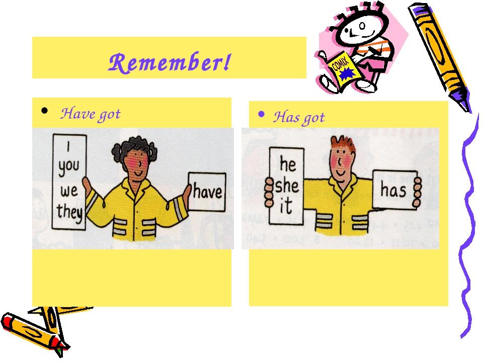 Remember! Have got Has got