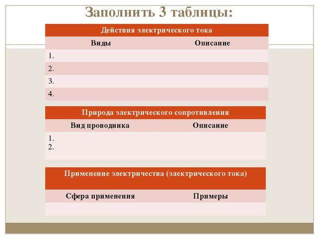 Заполнить 3 таблицы: Действия электрического тока ВидыОписание 1. 2. 3....