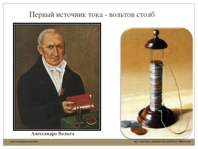 http://www.fizika.ru/fakultat/index.php?theme=08&id=8230 Первый источник тока...
