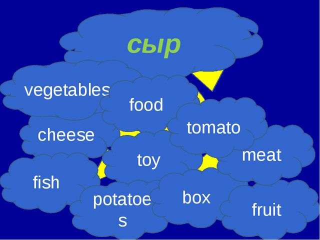 сыр cheese vegetables food toy fish potatoes box fruit meat tomato