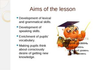 Aims of the lesson Development of lexical and grammatical skills. Development