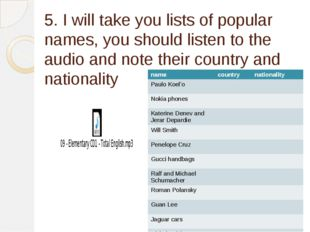 5. I will take you lists of popular names, you should listen to the audio and