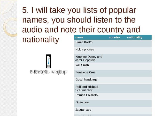 5. I will take you lists of popular names, you should listen to the audio and...