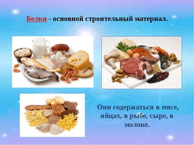 Белки - основной строительный материал. Они содержаться в мясе, яйцах, в рыбе...