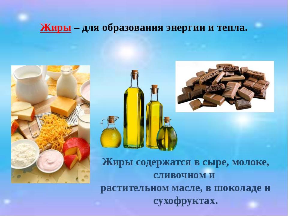 Жиры – для образования энергии и тепла. Жиры содержатся в сыре, молоке, сливо...