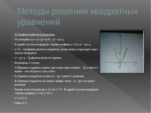Методы решения квадратных уравнений Д) Графический метод решения Рассмотрим у