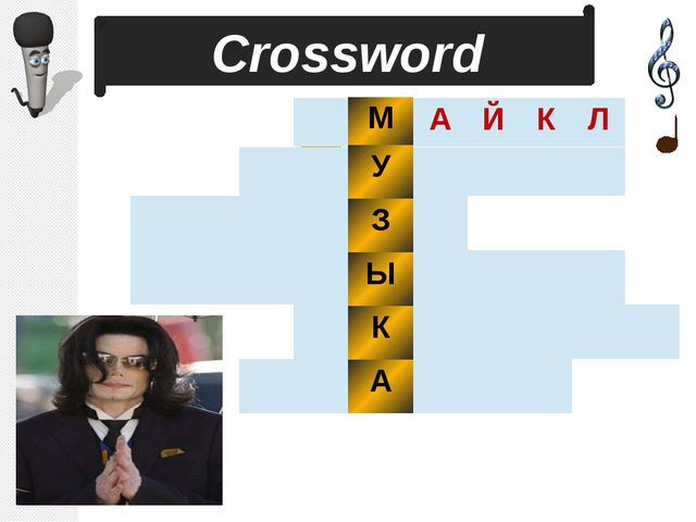 1 2 3 4 5 6 Сrossword М У З Ы К А А Й К Л