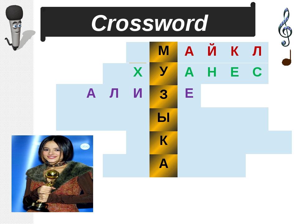 1 2 3 4 5 6 Сrossword М У З Ы К А А Й К Л А Н Е С А Л И Е Х