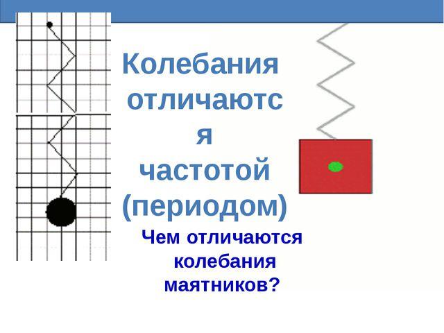 Колебания отличаются частотой (периодом) Чем отличаются колебания маятников?