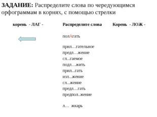 ЗАДАНИЕ: Распределите слова по чередующимся орфограммам в корнях, с помощью с