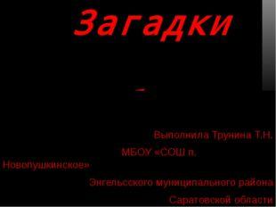 Загадки Бабы-Яги Выполнила Трунина Т.Н. МБОУ «СОШ п. Новопушкинское» Энгельс