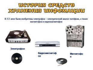 В XX веке были изобретены электрофон – электрический аналог патефона, а также
