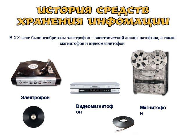 В XX веке были изобретены электрофон – электрический аналог патефона, а также...