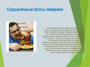 Соединённые Штаты Америки К излюбленным блюдам американцев можно отнести сала